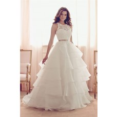 Ball Gown Open Back Lace Organza Ruffle Tiered Wedding Dress With Sash