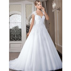 Ball Gown Queen Anne Neckline Cap Sleeve Tulle Lace Wedding Dress With Buttons