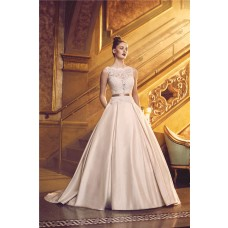 Ball Gown Scalloped Neck Low Back Satin Lace Wedding Dress With Pockets Sash