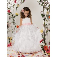 Ball Gown Scoop Floor Length White Organza Flower Girl Dress With Ruffles Sash