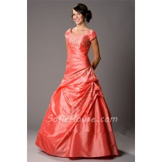 Ball Gown Scoop Neck Coral Taffeta Embroidery Modest Prom Dress With Sleeves