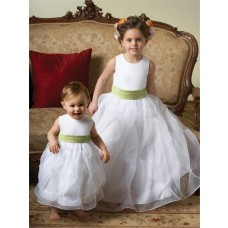 Ball Gown Scoop Tea Length White Organza Toddler Flower Girl Dress With Sash