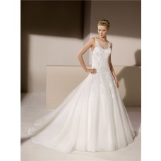 Ball Gown Sheer Illusion Boat Neckline Tulle Applique Beaded Wedding Dress