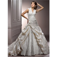 Ball Gown Sleeveless Champagne Satin Lace Beaded Wedding Dress With Buttons