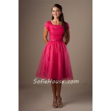 Ball Gown Square Neck Hot Pink Organza Short Modest Party Bridesmaid Dress