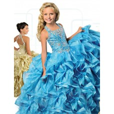 Ball Gown Square Neck Turquoise Organza Ruffle Beaded Girl Pageant Prom Dress