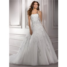 Ball Gown Strapless Beaded Lace Organza Wedding Dress With Flower Sash