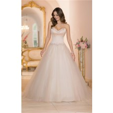 Ball Gown Strapless Blush Pink Colored Satin Tulle Wedding Dress Corset Back