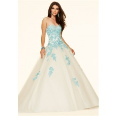 Ball Gown Strapless Champagne Tulle Blue Lace Beaded Prom Dress