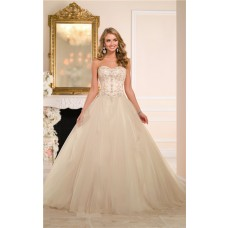 Ball Gown Strapless Drop Waist Champagne Colored Satin Tulle Corset Wedding Dress