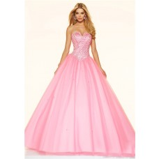 Ball Gown Strapless Drop Waist Corset Light Pink Tulle Beaded Prom Dress