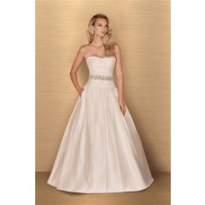 Ball Gown Strapless Drop Waist Taffeta Ruched Wedding Dress Low Back