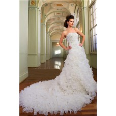 Ball Gown Strapless Organza Ruffle Crystal Church Wedding Dress With Long Train