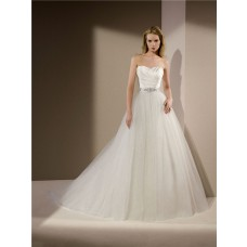 Ball Gown Strapless Ruched Satin Glitter Tulle Wedding Dress Crystals Beaded Sash
