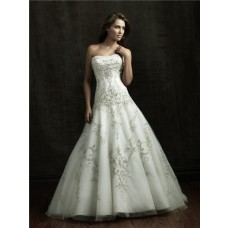 Ball Gown Strapless Satin Tulle Wedding Dress With Sparkle Embroidery Beading