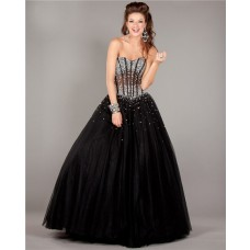 Ball Gown Strapless See Through Corset Black Tulle Beaded Prom Dress