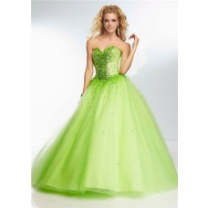 Ball Gown Strapless Sweetheart Corset Back Lime Green Tulle Beaded Prom Dress