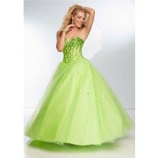 Ball Gown Strapless Sweetheart Corset Back Long Lime Green Tulle Beaded Prom Dress