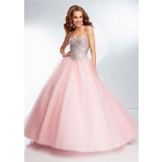 Ball Gown Strapless Sweetheart Long Light Pink Tulle Beaded Prom Dress Corset Back