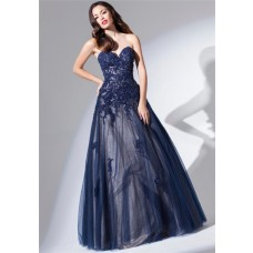 Ball Gown Strapless Sweetheart Long Navy Blue Tulle Lace Beaded Prom Dress
