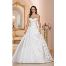 Ball Gown Strapless Sweetheart Satin Draped Wedding Dress Corset Back