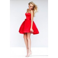 Ball Gown Strapless Sweetheart Short Red Tulle Lace Beaded Party Prom Dress