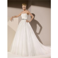 Ball Gown Strapless Tulle Lace Applique Beaded Wedding Dress With Crystals Sash