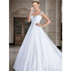 Ball Gown Sweetheart Cap Sleeve Straps Tulle Lace Wedding Dress Sheer Back Buttons