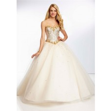 Ball Gown Sweetheart Champagne Tulle Gold Beaded Prom Dress Corset Back