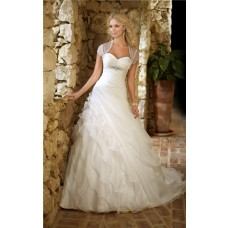 Ball Gown Sweetheart Corset Organza Ruffle Layered Wedding Dress Crystals Bolero Jacket