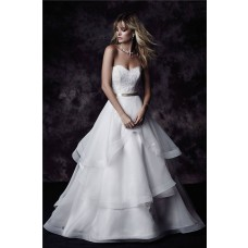 Ball Gown Sweetheart Lace Organza Ruffle Layered Wedding Dress With Sash