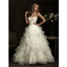 Ball Gown Sweetheart Layer Organza Ruffle Wedding Dress With Beading Crystal