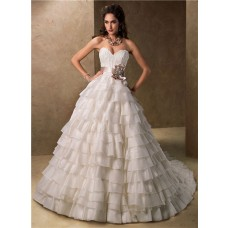 Ball Gown Sweetheart Layered Organza Ruffle Wedding Dress With Ribbon Sash