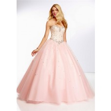 Ball Gown Sweetheart Light Pink Tulle Lace Beaded Prom Dress Corset Back
