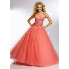 Ball Gown Sweetheart Long Coral Tulle Draped Beaded Prom Dress Corset Back