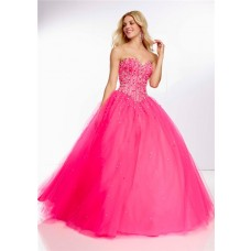 Ball Gown Sweetheart Long Hot Pink Tulle Beaded Prom Dress Corset Back