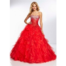 Ball Gown Sweetheart Long Red Organza Ruffle Ombre Beaded Prom Dress Corset Back
