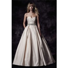 Ball Gown Sweetheart Low Back Champagne Taffeta Ruched Wedding Dress With Pockets