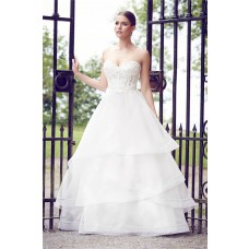 Ball Gown Sweetheart Low Back Spaghetti Strap Organza Layered Wedding Dress