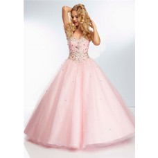 Ball Gown Sweetheart Neckline Light Baby Pink Tulle Beaded Crystal Prom Dress