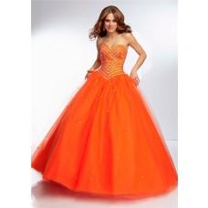 Ball Gown Sweetheart Neckline Long Orange Tulle Tonal Beaded Prom Dress Corset Back