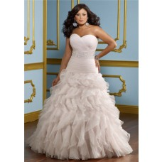 a line strapless sweetheart ruched organza lace plus size