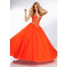 Ball Gown Sweetheart Orange Tulle Beaded Crystal Quinceanera Prom Dress Corset Back