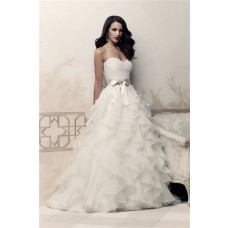 Ball Gown Sweetheart Organza Ruffle Lace Wedding Dress With Bow Sash