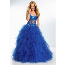 Ball Gown Sweetheart Sheer See Through Corset Royal Blue Tulle Ruffle Prom Dress