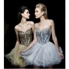 Ball Gown Sweetheart Short Mini Tutu Silver Grey Organza Beaded Cocktail Prom Dress