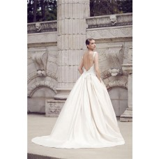 Ball Gown Sweetheart Strap Backless Lace Satin Wedding Dress With Pockets