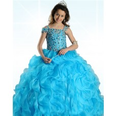 Ball Gown Turquoise Blue Organza Ruffle Beaded Little Girl Prom Dress With Straps