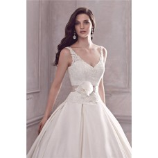 Ball Gown V Neck Open Back Lace Satin Wedding Dress With Flower Sash