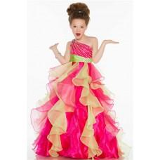 Ball One Shoulder Pink Lime Green Organza Ruffle Sequin Little Girl Pageant Dress